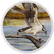 Osprey Landing Round Beach Towel by Phyllis Beiser