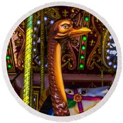 Ostrich Fair Ride Round Beach Towel