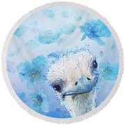Ostrich In A Field Of Poppies Round Beach Towel