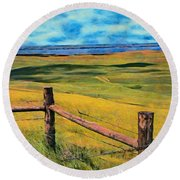 Round Beach Towel featuring the painting Other Side Of The Fence by Jeff Kolker