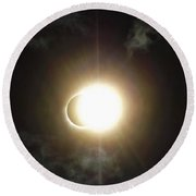 Otherworldly Eclipse-leaving Totality Round Beach Towel