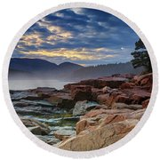 Otter Cove In The Mist Round Beach Towel