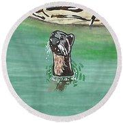 Otter In Amazon River Round Beach Towel