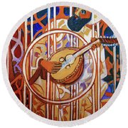 Round Beach Towel featuring the painting Oud - Eleven Srings by Denise Weaver Ross