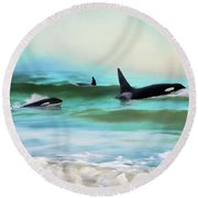 Our Family - Orca Whale Art Round Beach Towel