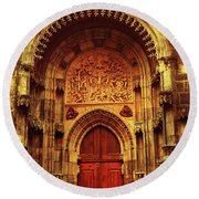 Round Beach Towel featuring the photograph Our Lady Before Tyn 1. Architecture. Series Golden Prague by Jenny Rainbow