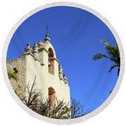 Round Beach Towel featuring the photograph Our Lady Of Mount Carmel - Montecito by Art Block Collections