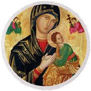 Our Lady Of Perpetual Help Icon Round Beach Towel