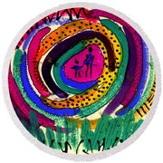 Our Own Colorful World I Round Beach Towel by Angela L Walker