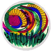 Our Own Colorful World IIi Round Beach Towel by Angela L Walker