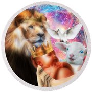Round Beach Towel featuring the digital art Our Saviors Birth by Dolores Develde