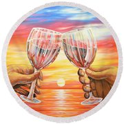 Our Sunset Round Beach Towel