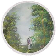 Round Beach Towel featuring the painting Our Time Together by Raymond Doward