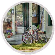 Our Town Bicycle Round Beach Towel