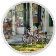Our Town Bicycle Round Beach Towel by Craig J Satterlee