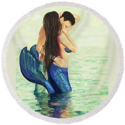 Round Beach Towel featuring the painting Our Treasured Love by Leslie Allen