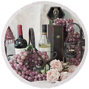 Round Beach Towel featuring the photograph Our Wine Cellar by Sherry Hallemeier