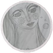 Ourania-platos Muse Of Astronomy Round Beach Towel