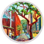 Round Beach Towel featuring the painting Out And About by Dorothy Allston Rogers
