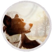 Out And About Round Beach Towel