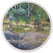 Out Fishing With Viola  Round Beach Towel