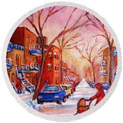 Round Beach Towel featuring the painting Out For A Walk With Mom by Carole Spandau