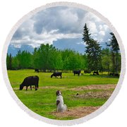 Out In The Pasture Round Beach Towel