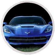 Blue 2013 Corvette Round Beach Towel