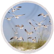 Out Of The Blue Round Beach Towel by Jan Amiss Photography