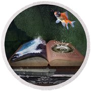 Out Of The Pond Round Beach Towel by Mary Hood