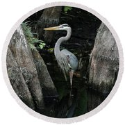 Out Standing In The Swamp Round Beach Towel by Lamarre Labadie
