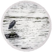 Out Standing On A Rock Round Beach Towel by Ray Congrove