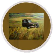 Round Beach Towel featuring the painting Out To Pasture by Gail Kirtz