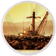 Out To Sea At Moss Landing, California Round Beach Towel
