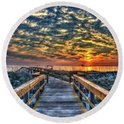Round Beach Towel featuring the photograph Out To Sea Tybee Island Georgia Art by Reid Callaway
