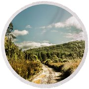 Outback Country Road Panorama Round Beach Towel