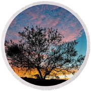 Outback Sunset Pano Round Beach Towel