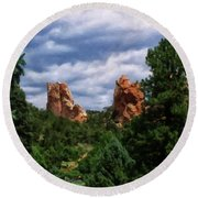 Round Beach Towel featuring the digital art outcroppings in Colorado Springs by Chris Flees