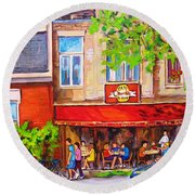 Round Beach Towel featuring the painting Outdoor Cafe by Carole Spandau
