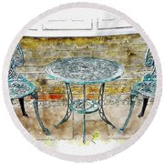 Outdoor Dining Round Beach Towel