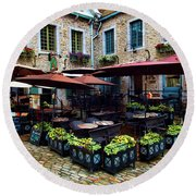 Outdoor French Cafe In Old Quebec City Round Beach Towel