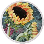Outdoor Sunflowers Round Beach Towel