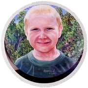 Outdoors Boy Round Beach Towel