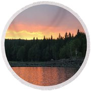 Outdoors In Norway.  Round Beach Towel