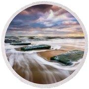 Outer Banks North Carolina Beach Sunrise Seascape Photography Obx Nags Head Nc Round Beach Towel