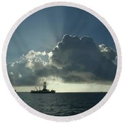 Outer Continental Shelf Oilfield  Round Beach Towel