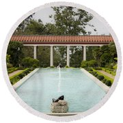 Outer Peristyle Pool And Fountain Getty Villa Round Beach Towel