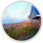 Round Beach Towel featuring the photograph Outerbanks Sunrise At The Beach by Sandi OReilly