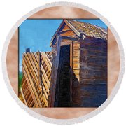 Round Beach Towel featuring the photograph Outhouse 2 by Susan Kinney