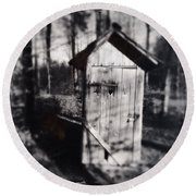 Outhouse Black And White Wetplate Round Beach Towel